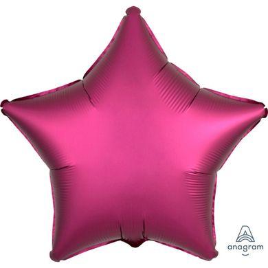 Fóliový balón hviezda Satin Luxe tmavoružový