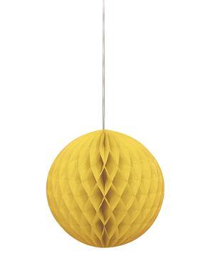 Papierová guľa Honeycomb žltá