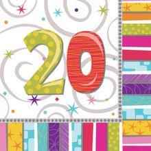 """Servítky Radiant Birthday """"20"""""""