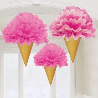Visiace dekorácie Ružová zmrzlina