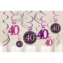 Visiace špirály 40 Pink Diamonds