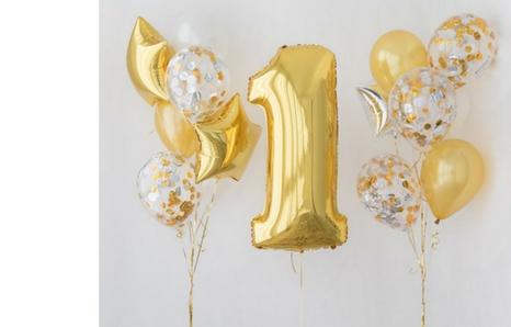 Ballone auf ersten Geburtstag