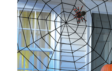 Halloweenske dekoračné pavúky, pavučiny, netopiere a hmyz