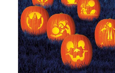 Šablóny na halloween tekvice, nálepky na tekvice