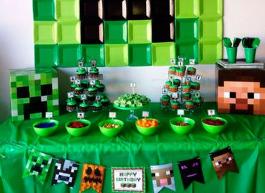 Rozpixelovaná párty v štýle Minecraft