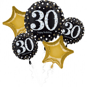 Amscan Balónová kytica 30.narodeniny Gold Diamonds 5ks