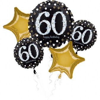 Amscan Balónová kytica 60.narodeniny Gold Diamonds 5ks