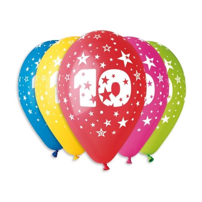 Gemar Balóny s číslom 10 Hviezdy 30cm 5ks