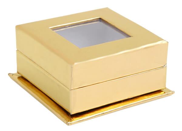 Santex Darčeková krabička s okienkom zlatá