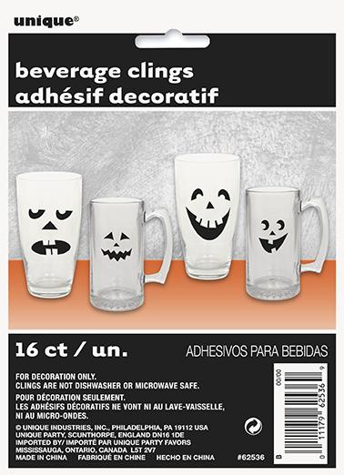Unique Nálepky na pohár Halloween plastové 16ks