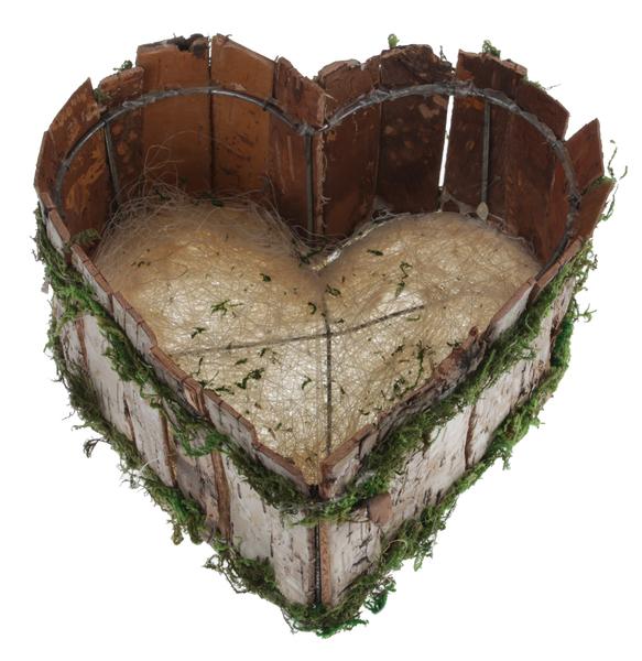 Santex Drevený košík Srdce 20x20x9cm