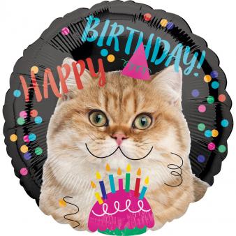 Amscan Fóliový balón Happy Birthday Cat 43cm