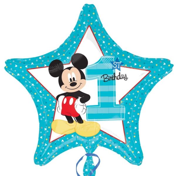 Amscan Fóliový balón hviezda 1.narodeniny Mickey 45cm