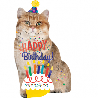 Amscan Fóliový balón supershape Happy Birthday Cat 45x83cm