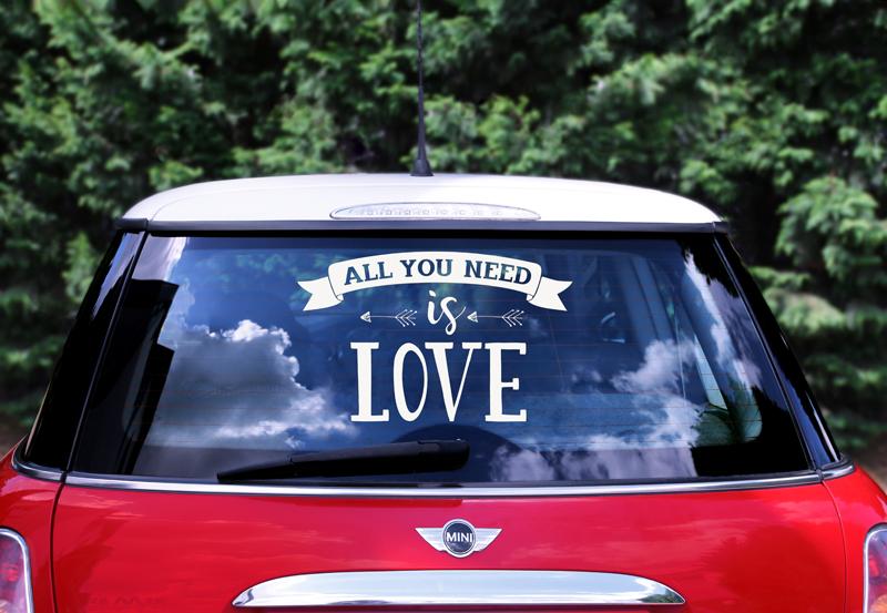 PartyDeco Nálepka na svadobné auto All you need is love 33x45cm