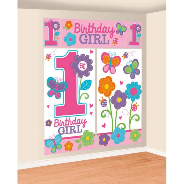 Amscan Tapety na stenu 1.narodeniny B-day Girl 165 x 182 cm