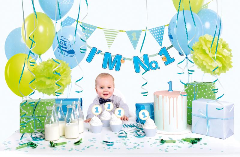 PartyDeco Sada dekorácií 1.narodeniny chlapček modrý 42ks