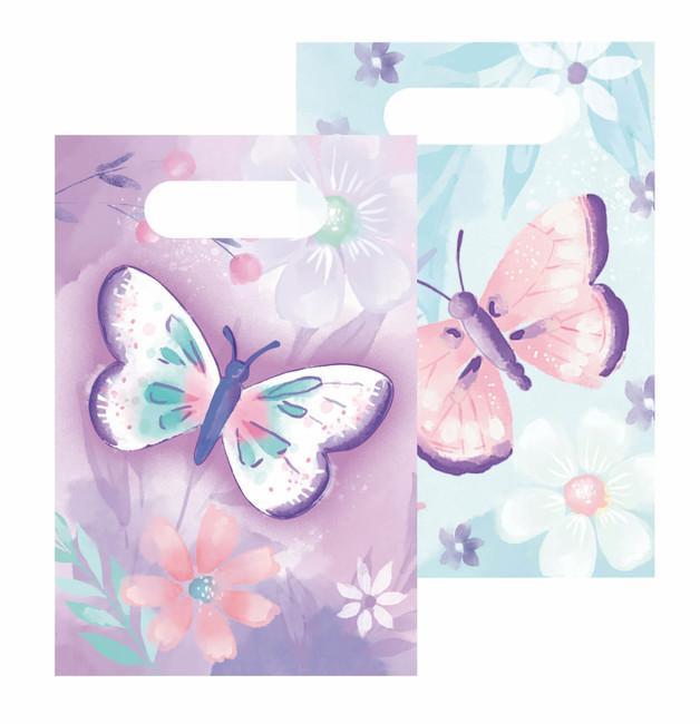 Amscan Papierové taštičky Motýlik pastelový 8ks