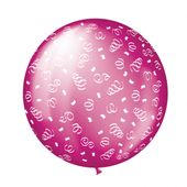 Balón veľký fuchsia swirls