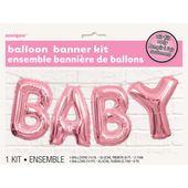 Balónový banner Baby ružový