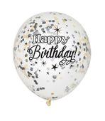 Balóny s konfetami Happy Birthday - čierne