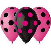 Balóny ružovo - čierne bodky