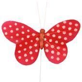 Dekorácia na stopke Motýľ červený