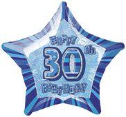 Fóliová hviezda modrá 30