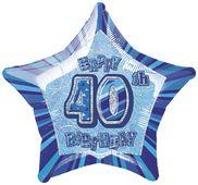 Fóliová hviezda modrá 40