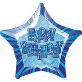 Fóliová hviezda modrá Happy Birthday