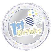 Fóliový balón 1st Birthday Balloons modrý