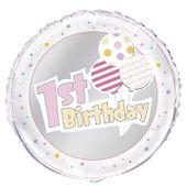 Fóliový balón 1st Birthday Balloons ružový