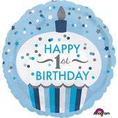 Fóliový balón 1st Birthday Cupcake modrý
