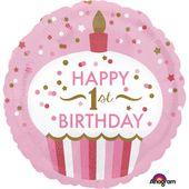 Fóliový balón 1st Birthday Cupcake ružový