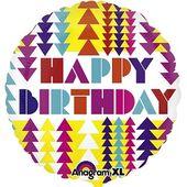 Fóliový balón Geometric Happy Birthday