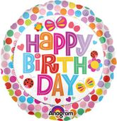 Fóliový balón Happy Birthday bodkovaný