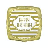Fóliový balón Happy Birthday Gold
