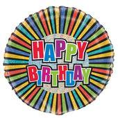 Fóliový balón Happy Birthday prizmatický