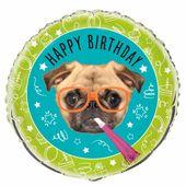 Fóliový balón Pug Birthday