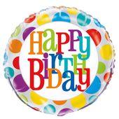 """Fóliový balón Rainbow """"Happy Birthday"""" dots"""