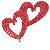 Fóliový multibalón Interlocking Hearts červený