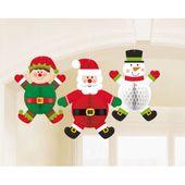 Visiace Honeycomb dekorácie Vianočné postavy