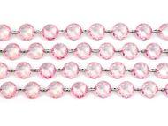 Kryštálová girlanda svetlo-ružová