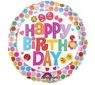 Mini fóliový balón Happy Birthday Flower