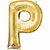 "Fóliový balón ""P"" zlatý"