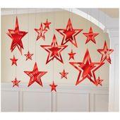 Sada visiacich hviezd - červené