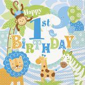 Servítky 1.narodeniny blue Safari