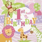Servítky 1.narodeniny pink Safari