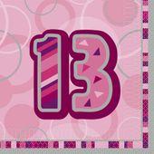 Servítky Birthday ´´13´´ Pink