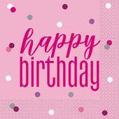 Servítky Birthday Pink